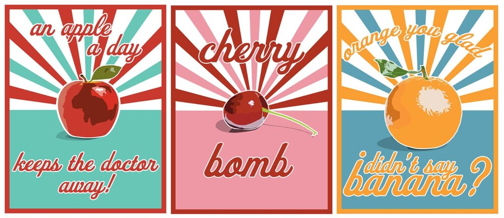 Fruit posters by Kylie Sharp